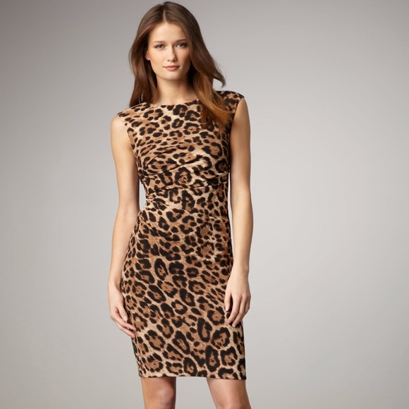 2355b5445f David Meister Dresses   Skirts - David Meister Brown Leopard Print Dress  Size 4